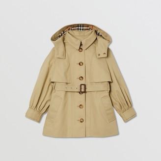 Burberry Detachable Hood Cotton Twill Trench Coat