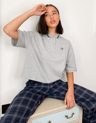 Fred Perry oversized pique shirt in grey
