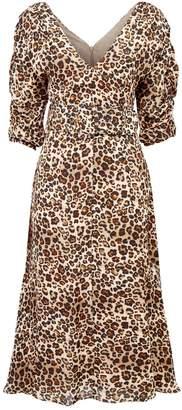 Nicholas Leopard Print Belted Dress