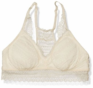 Mae Amazon Brand Women's Stripe Lace Racerback Bralette with Removable Pads