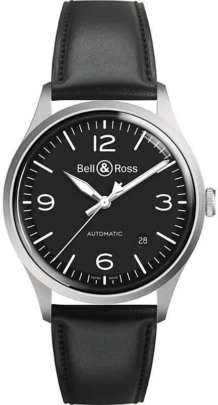 Bell & Ross BRV192-BL-ST/SCA Vintage auto black dial leather strap