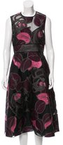 Lela Rose Brocade Midi Dress