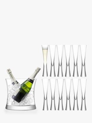 LSA International Moya Flutes & Champagne Bucket, Set of 12