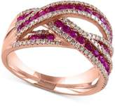 Effy Rosa by Ruby (1 ct. t.w.) and Diamond (3/8 ct. t.w.) Interwoven Ring in 14k Rose Gold(Also Available in Sapphire and Emerald)