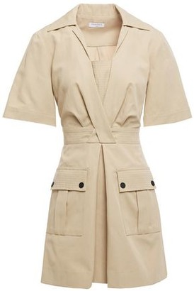 Sandro Kassandre Pleated Cotton And Linen-blend Mini Dress