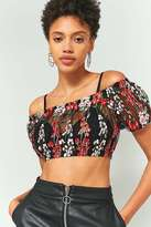 Pins & Needles Black and Red Floral Embroidered Mesh Off-The-Shoulder Crop Top