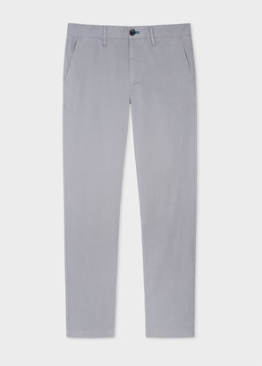 Men's Tapered-Fit Light Grey Stretch Pima-Cotton Chinos