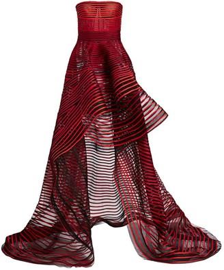 Oscar de la Renta Striped Strapless High-Low Gown