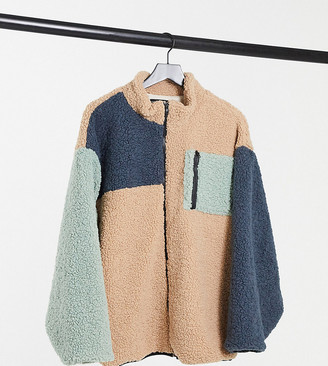 Daisy Street Plus oversized jacket in color block fleece