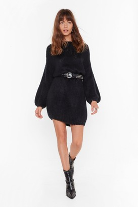 Nasty Gal Womens All Night Longline Knitted Boat Neck Sweater - Black