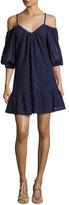 Parker Henrietta Lace-Overlay Cotton Dress, Blue Pattern