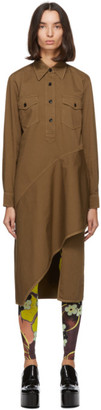 Dries Van Noten Brown Ruffle Hem Shirt Dress