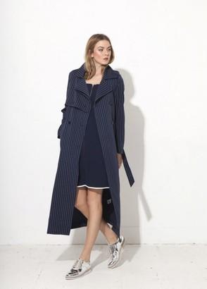 Jovonna London Nadia 2 Striped Trench Coat - Blue
