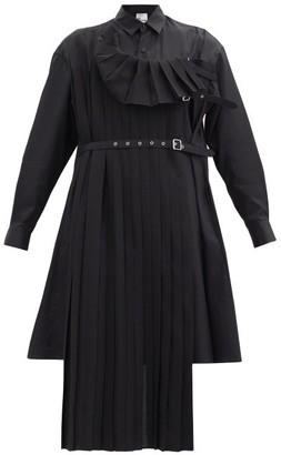 Noir Kei Ninomiya Buckled-pinafore Cotton-poplin Tunic Shirt - Black