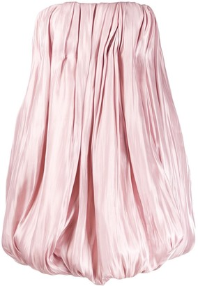 16Arlington Strapless Satin Puffball Mini Dress