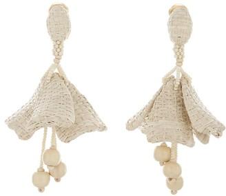 Oscar de la Renta Raffia Impatiens Earrings