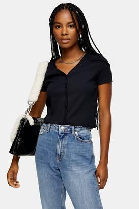 Topshop Womens Black Short Sleeve Cardigan - Black
