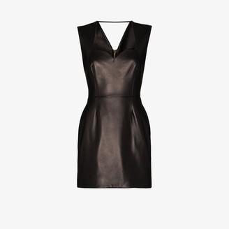 Versace Heritage Neckline Leather Mini Dress