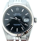 Rolex Datejust Stainless Steel & 18K White Gold Black Jubilee 36mm 1601 Watch