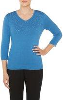 Allison Daley Petites Embellished V-Neck 3/4 Sleeve Pullover