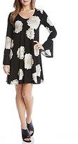 Karen Kane Long Bell Sleeve Scoop Neck A-Line Taylor Dress