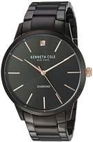 Kenneth Cole New York Men's 'Diamond' Quartz Stainless Steel Dress Watch, Color:Black (Model: KC15111004)