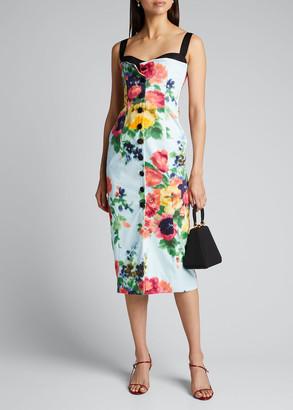 Carolina Herrera Floral-Print Corset Midi Dress