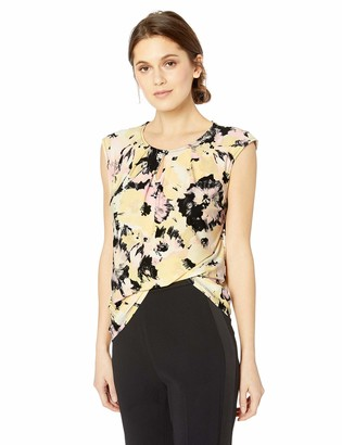 Kasper Women's Petite Cap Sleeve U-Neck with Keyhole Floral Printed ITY
