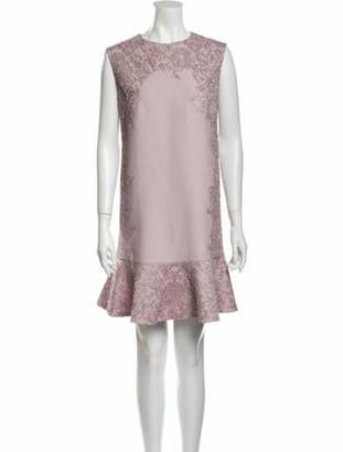 Valentino Crew Neck Mini Dress Purple