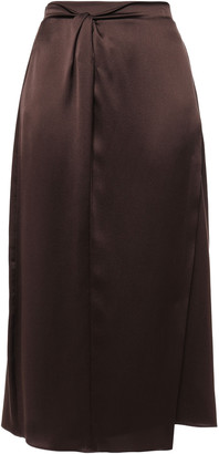 Vince Wrap-effect Twisted Silk-satin Midi Skirt