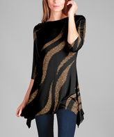 Lily Black & Gold Stripe Sidetail Tunic - Plus Too