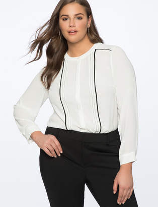 Contrast Piped Blouse