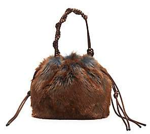 Dries Van Noten Women's Faux Fur Knotted Top Handle Bag