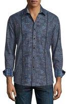 Robert Graham Limited Edition Geo-Print Long-Sleeve Sport Shirt, Charcoal