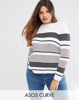 Asos Crew Neck Sweater In Stripe