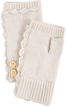 Tickled Pink Accessories Chunky Cable Knit Fingerless Gloves with Button Detail