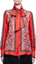 Alexander McQueen Long-Sleeve Paisley Tie-Neck Blouse, Red