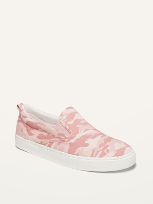 Old Navy Pink Camo Canvas Slip-Ons for Girls
