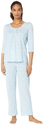 Carole Hochman Soft Jersey 3/4 Sleeve Long Pajama Set (Pink Ditsy) Women's Pajama Sets