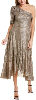 Farm Rio Sequin One-Shoulder Maxi Dress
