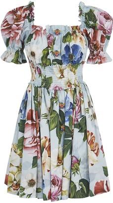 Dolce & Gabbana Floral Print Square Neck Dress