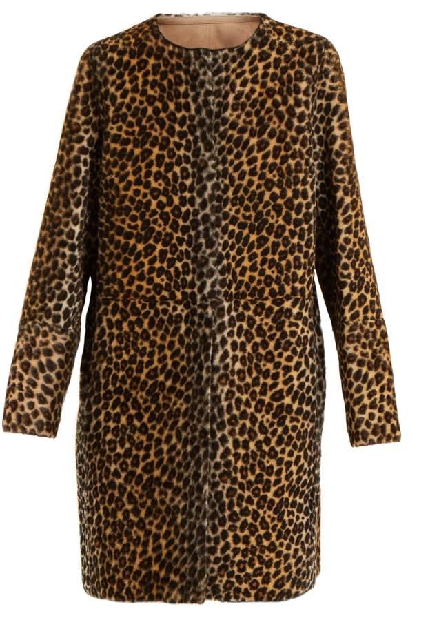 Yves Salomon Reversible collarless animal-print shearling coat