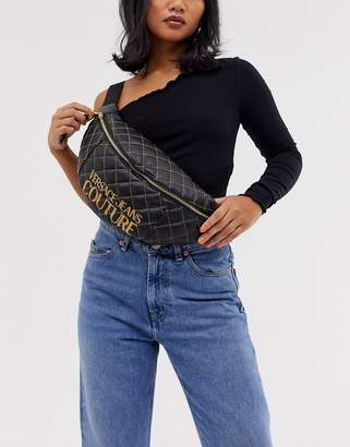 Versace quilted crossover bag-Black