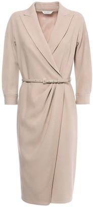 Max Mara Cady Crepe Knee-Length Wrap Dress