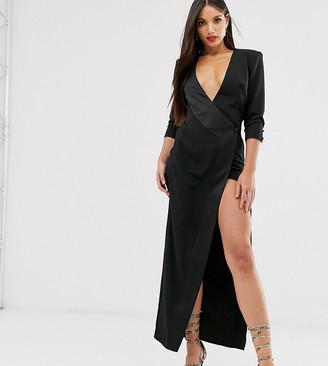 Asos DESIGN Tall maxi tux dress in crepe