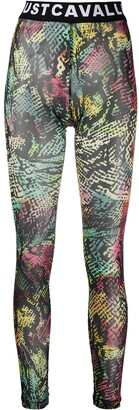 Just Cavalli Abstract-Print Logo Leggings