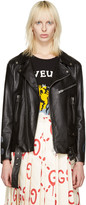 Gucci Black Leather Hand-Painted Biker Jacket