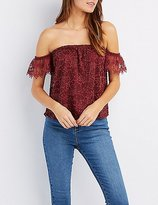 Charlotte Russe Lace Off-The-Shoulder Top