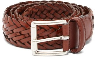 Andersons Woven-leather Belt - Mens - Brown