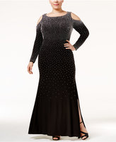 Xscape Evenings Plus Size Beaded Cold-Shoulder Slit Gown